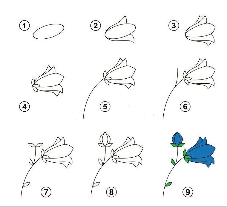 Come disegnare un fiore, disegni facili per bambini, nove step per un disegno  facile