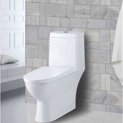 Chateau Dual Flush Elongated One Piece Toilet Seat Included Wall Mounted Toilet Modern Toilet Toilet