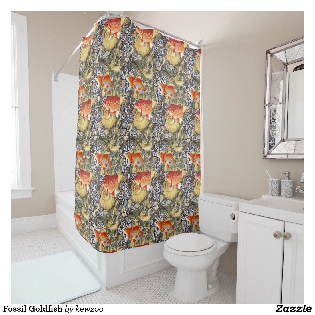Fossil Goldfish Shower Curtain