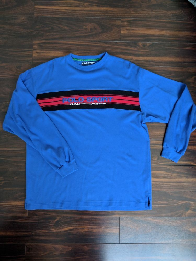 Vintage Polo Sport Embroidered Long Sleeve Ralph Lauren Spell Out L