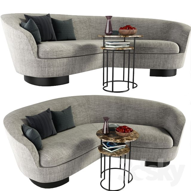 Minotti Jacques Curved Sofa With Coffee Table Kanepeler