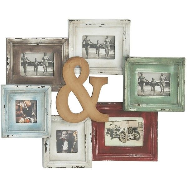 Wood Photo Collage Frame ($68) ❤ liked on Polyvore featuring home ...