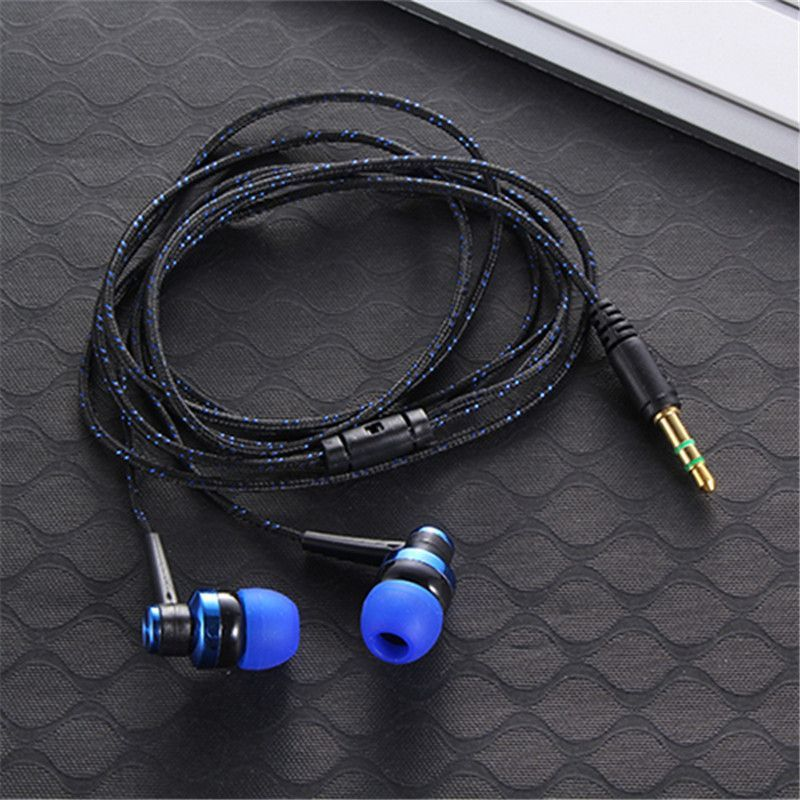 3 5mm in-ear mp3 mp4 wiring subwoofer headset ear braided rope wire cloth  rope earplug noise isolating earphone /light new style
