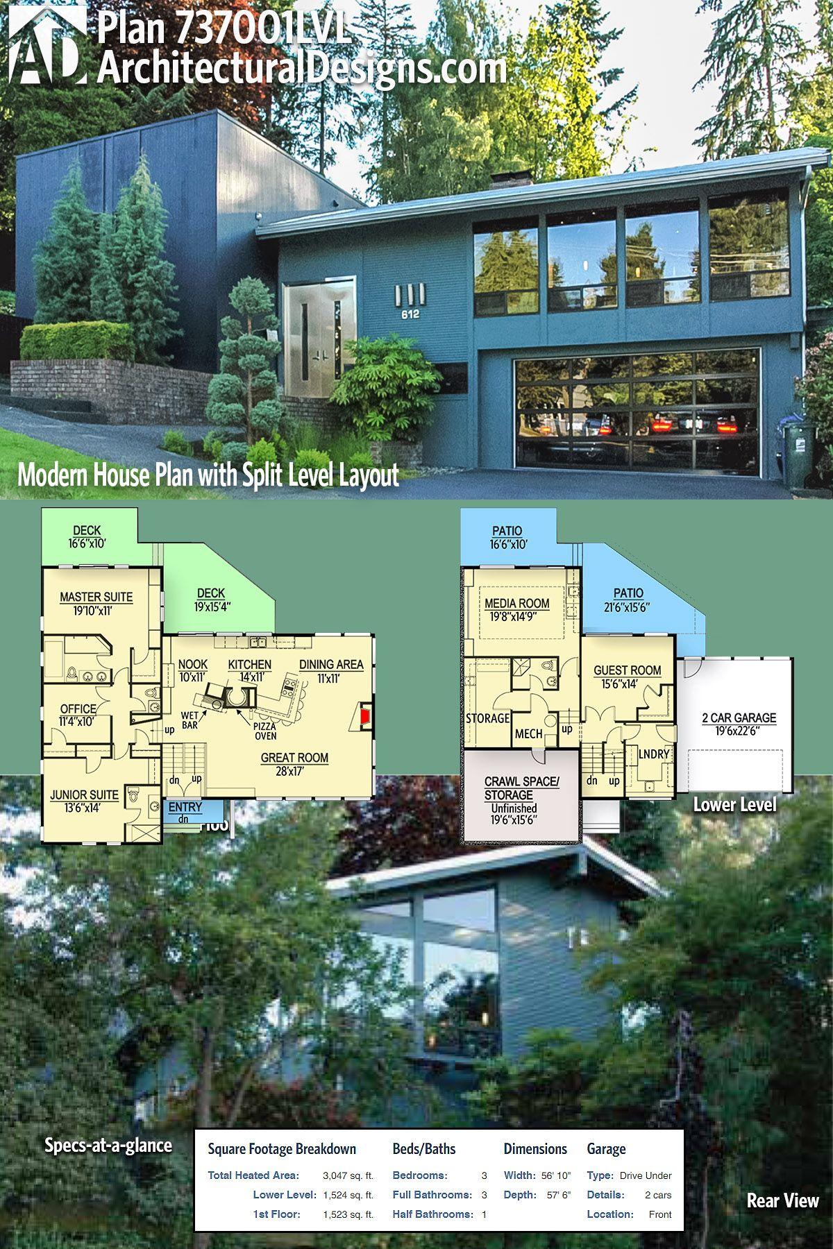 Plan 737001lvl Modern House Plan With Split Level Layout House Plans House Layouts Modern House Plan
