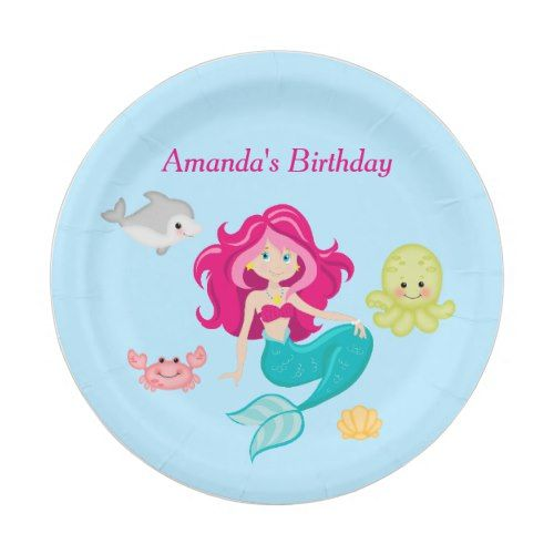 Birthday Beach Party Pool Party Paper Plates  sc 1 st  Pinterest & Birthday Beach Party Pool Party Paper Plates | Pinterest | Mermaid ...