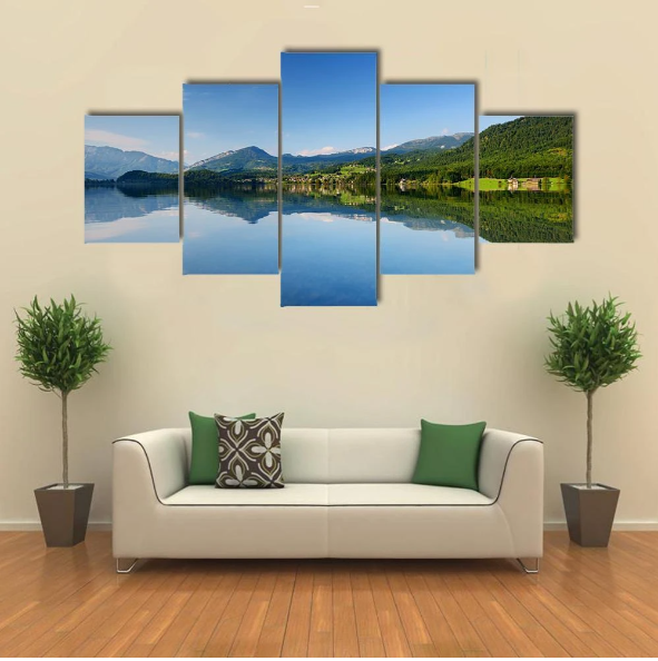 Reflections In Calm Waters Of Hallstatt Lake Multi Panel Canvas Wall Art In 2020 Canvas Wall Art Wall Art Multi Panel Canvas