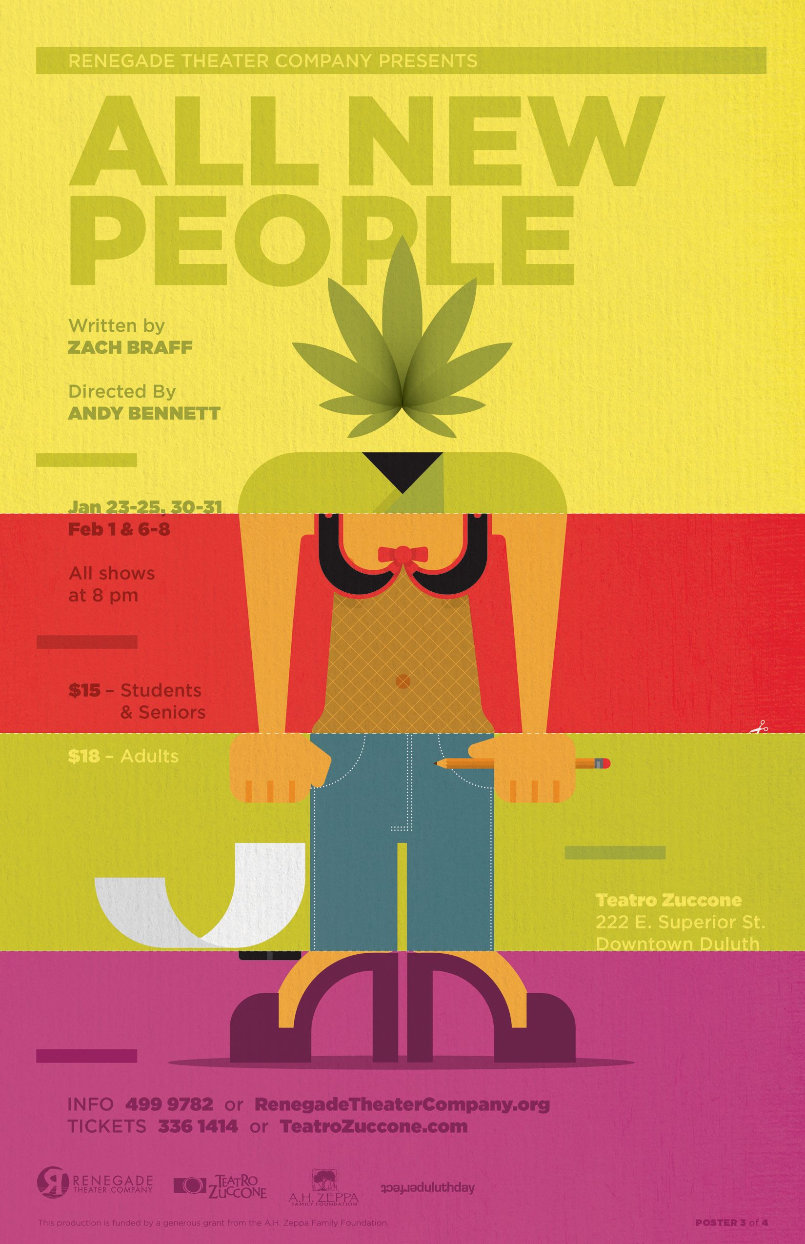 All New People By Zach Braff Theater Poster Design For Renegade