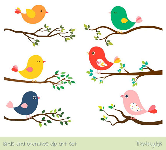 Cute Bird Clipart Set Tree Branch Clip Art Colorful Spring Bird