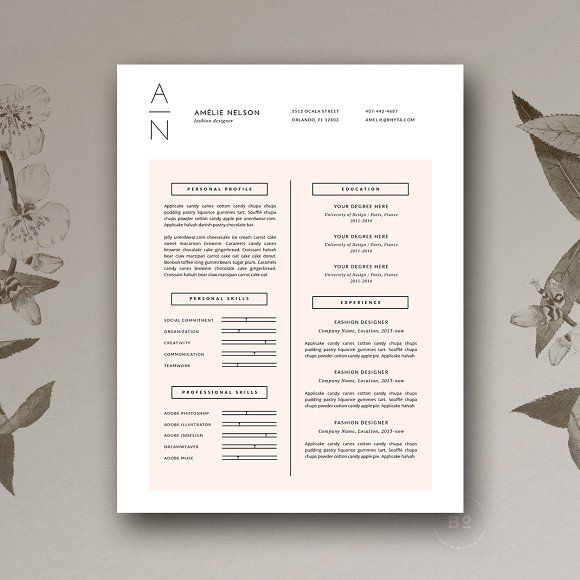 Resume cover letter cv design by botanica paperie on professional resume template cover letter cv professional modern creative resume template ms word for mac pc us letter best cv yelopaper Choice Image