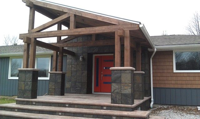 Rustic Contemporary Exterior Home Designs | Mobile Home Front Porch