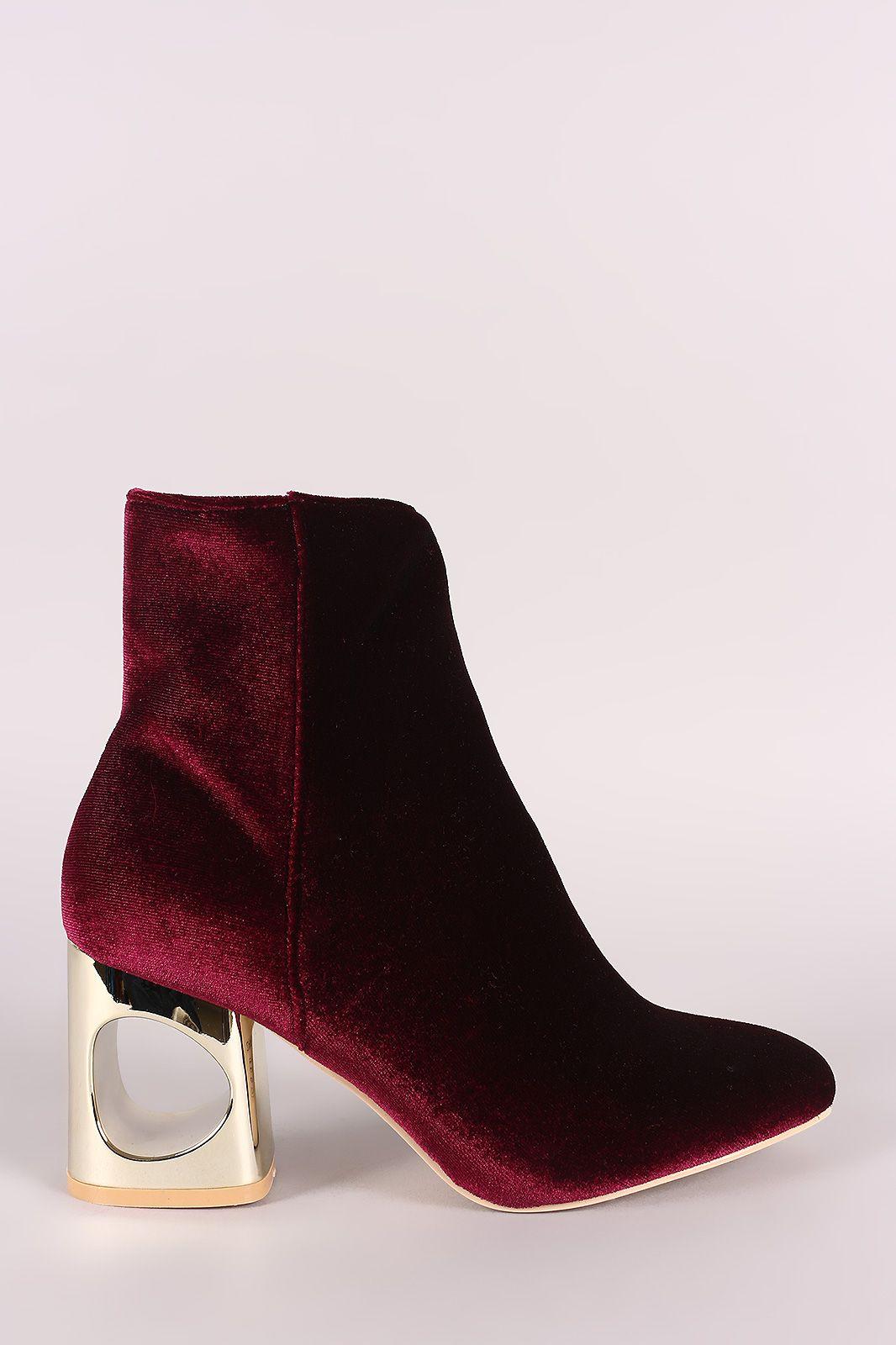 Velvet Circle Cutout Chunky Heeled Boots   UrbanOG