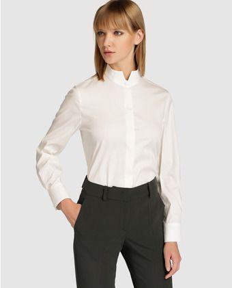 e636ad4621b91 Camisa de mujer Armani Collezioni de popelín con cuello alto
