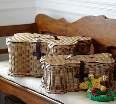 Pet Woven Rattan Bone Toy Basket Small Organization Baskets