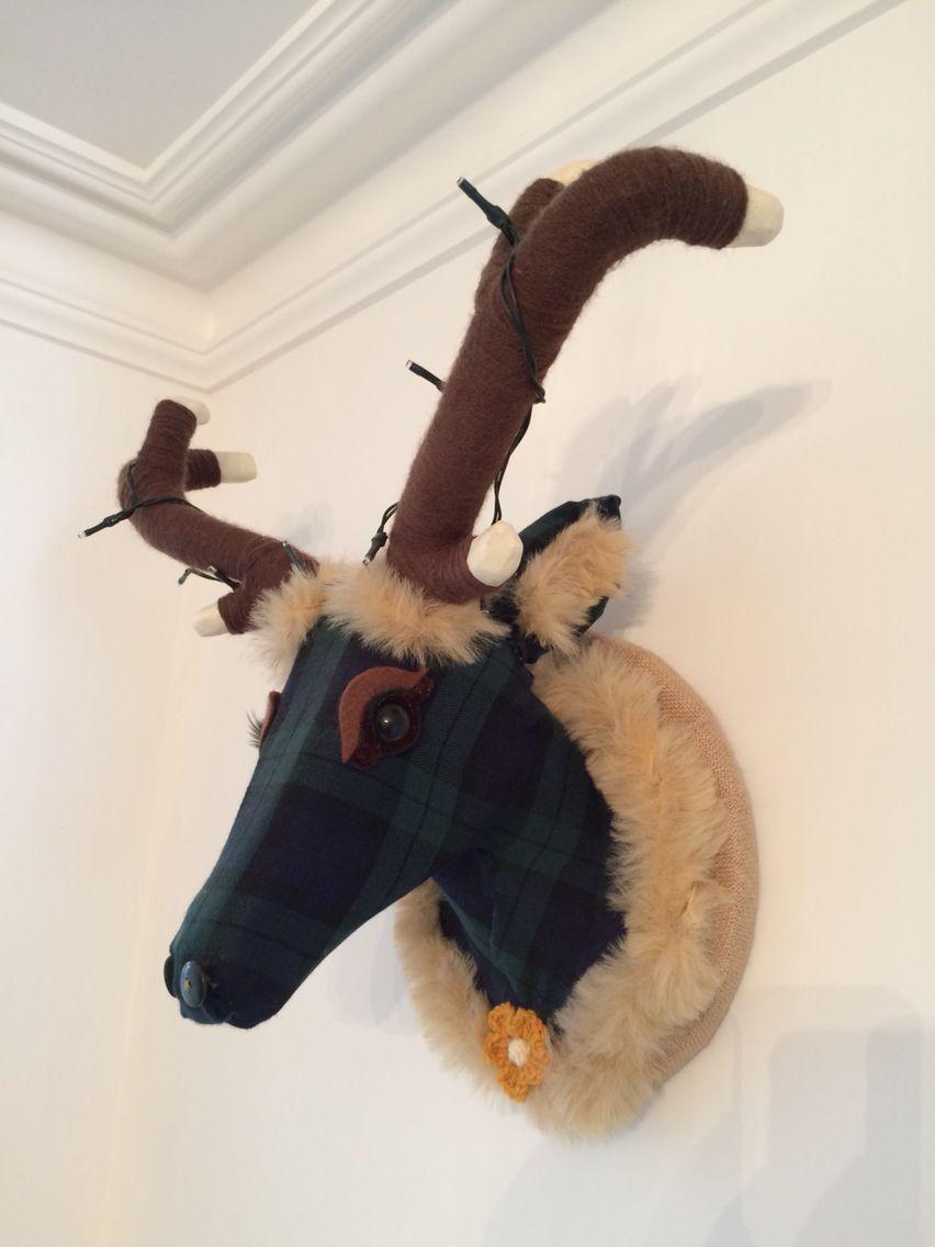 Bespoke Blue/Green Tartan Deer Animal Head!   LAVENDON MADE, UK  juliet.ledson@btinternet.com https://www.facebook.com/Lavendonmade