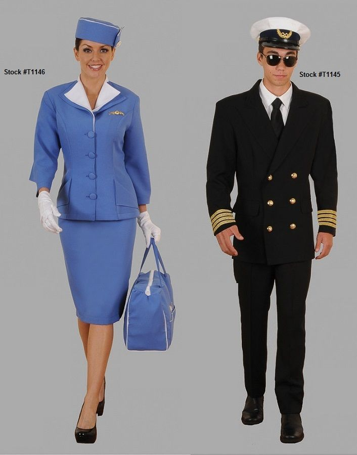 Stewardess Costume T1146 And Pilot Costume T1145 Sold Or Rented Separately Click The Image To Go To O Stewardess Costume Pilot Costume Kids Pilot Costume