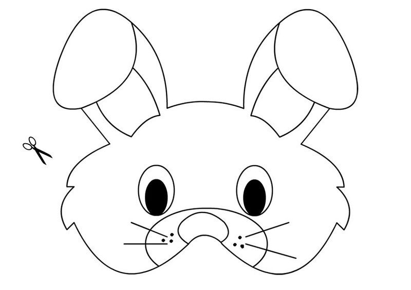 This is an image of Printable Bunny Mask in drawing rabbit
