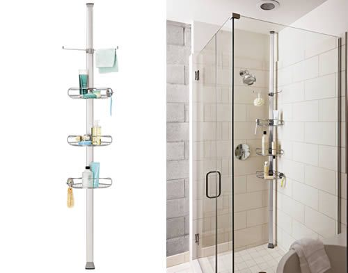 Beau Tension Shower Caddy For Floor To Celing Storage