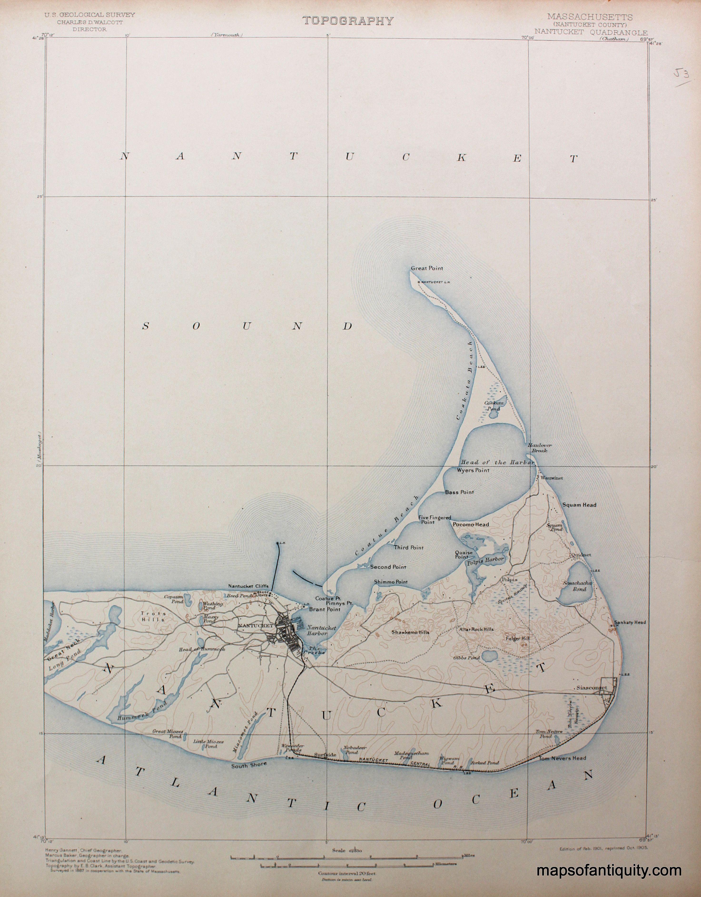 MA Nantucket sheet antique topo map