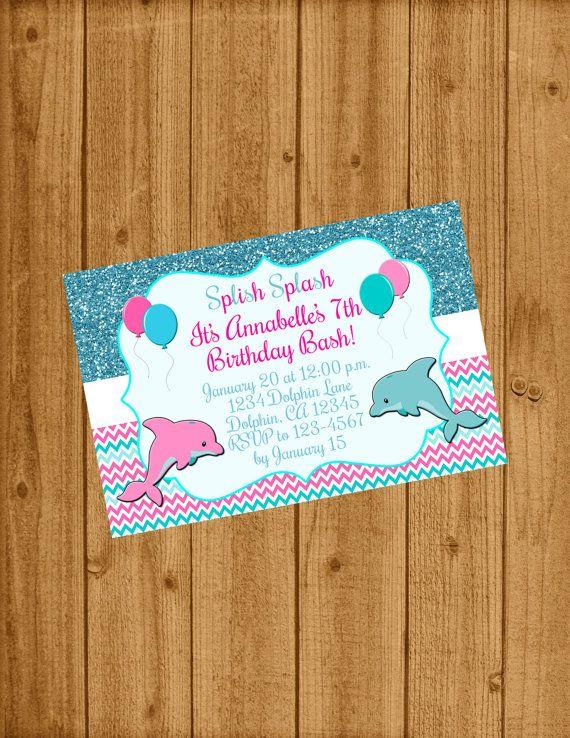 Carte Anniversaire Dauphin.Dolphin Under The Sea Birthday Invitation Under The Sea Party