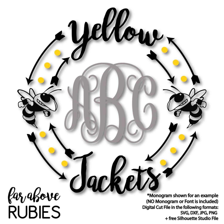 Yellow Jackets Team Monogram Wreath Frame Monogram Not