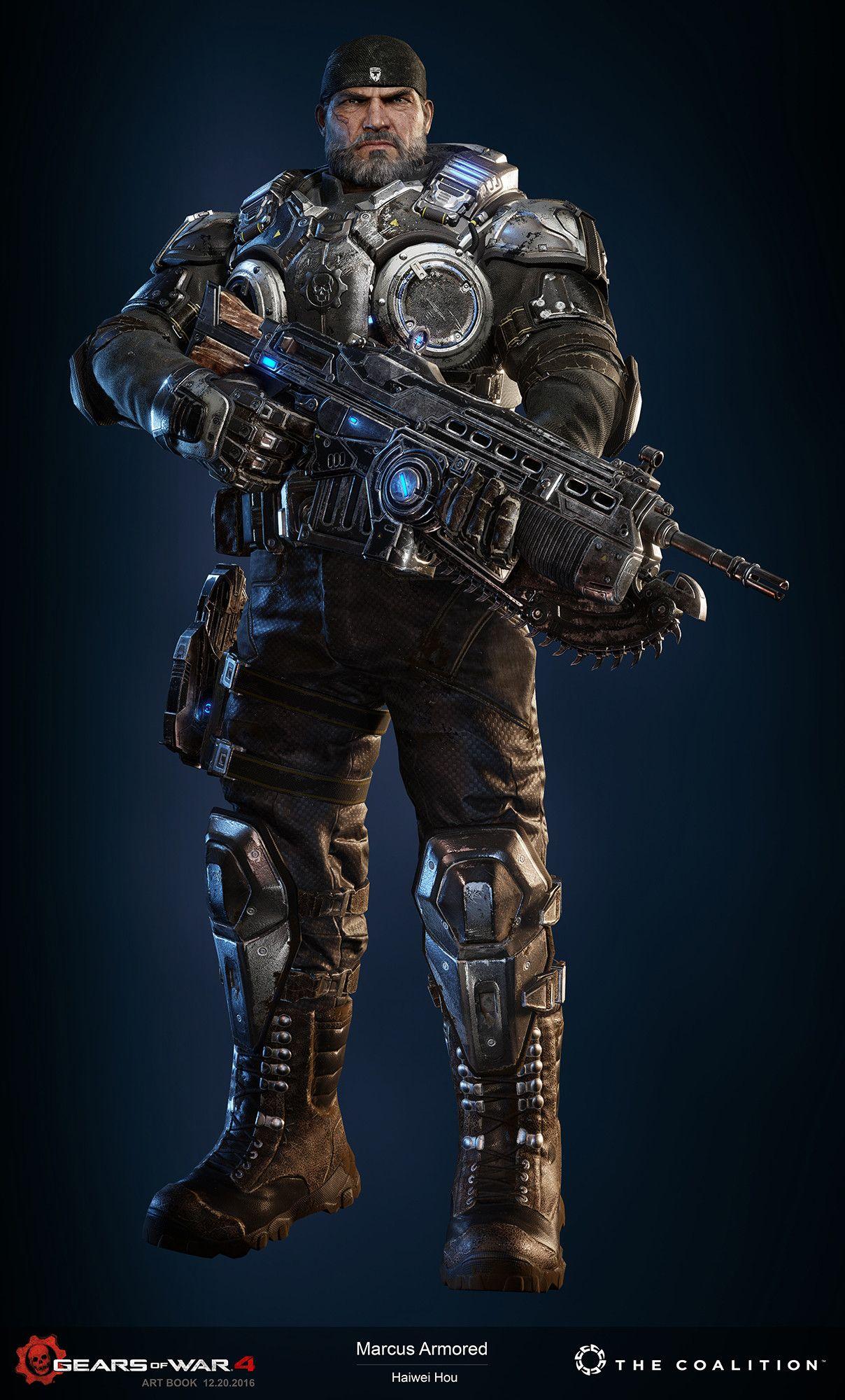 Artstation The Gears 4 Art Book Cog Leader And Heroes Armored Haiwei Hou Gears Of War Gear 4 Gears