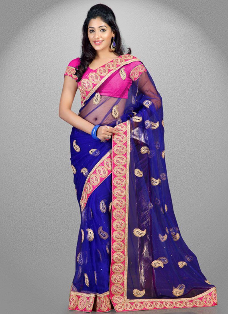 Blue Net #Saree   Party wear sarees   Pinterest