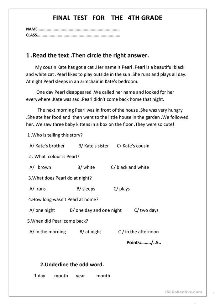 Final test for the 4th grade kumon Final test, English