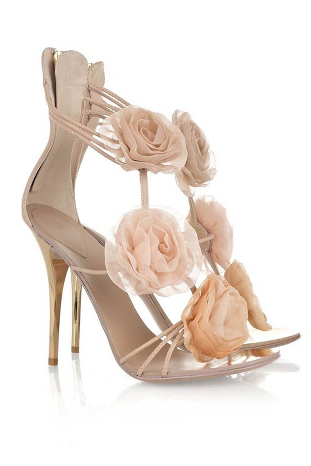Superb Giuseppe Zanotti Flower Appliqué Leather Sandals