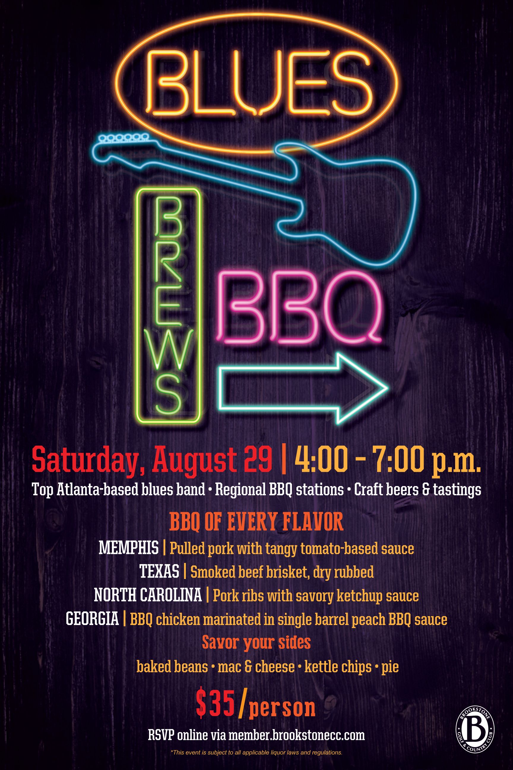 Blues Brews And Bbq Flyer Poster Design Event Template  Bbq