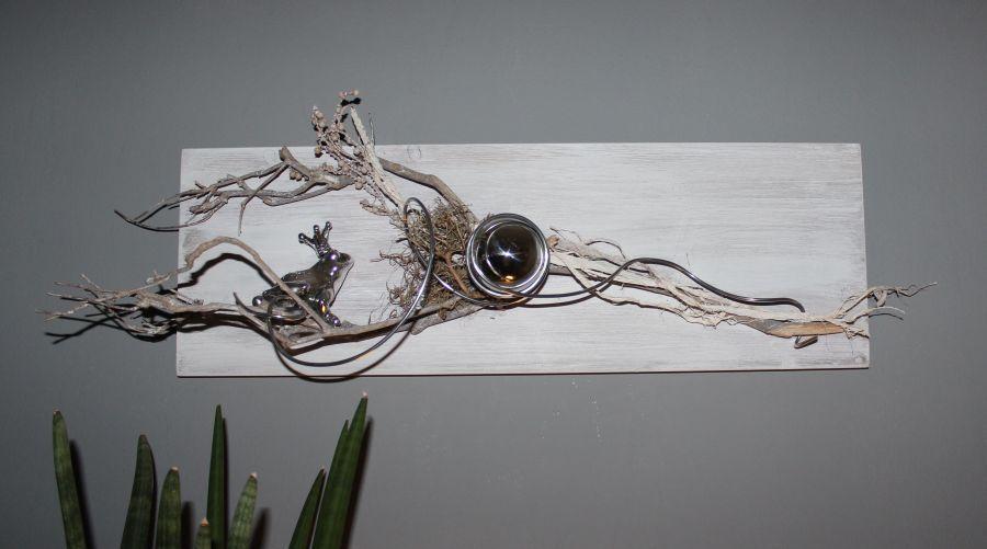 Luxury WD u Au ergew hnliche Wanddeko Holzbrett bebeizt und wei geb rstet dekoriert mit nat rlichen Materialien