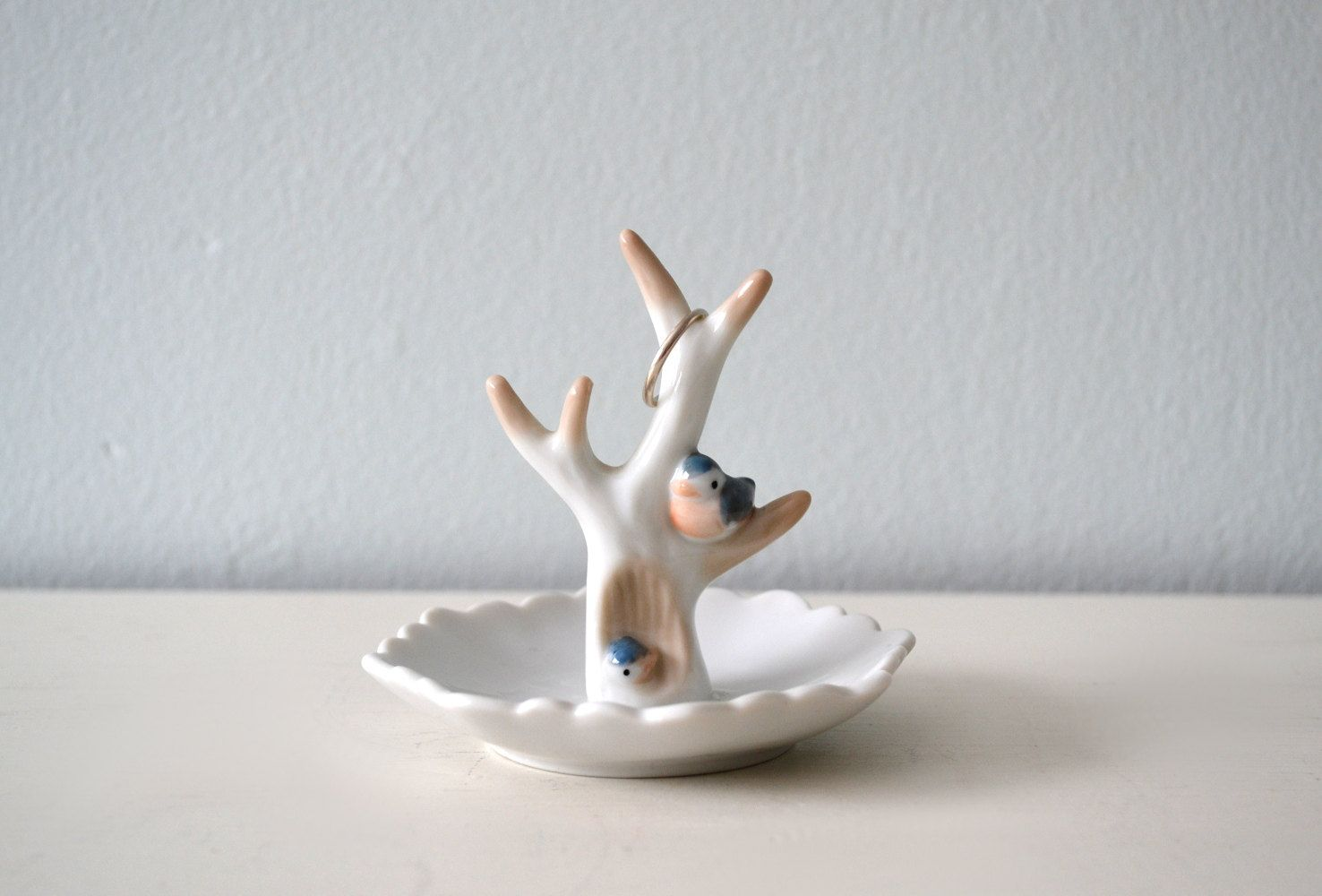 Vintage Ring Holder, Jewelry Dish, Ceramic Birds on Tree Branches, Woodland, Takahashi, Made in Japan. $13.00, via Etsy.