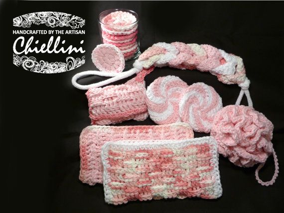 Knitted Wedding Gifts: Crochet Spa Set Face Cloths Back Scrubber By