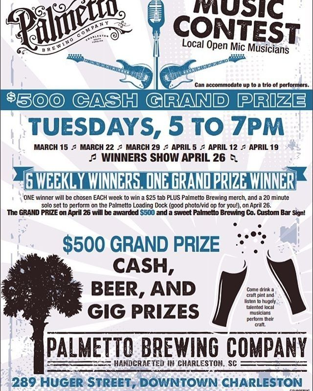 RG @awendawgreen Tues @palmettobrewing #openmic 5-7pm