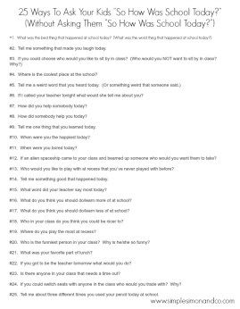 """How To Ask Your Kids """"So How Was School Today?"""" Without Asking Them """"How Was School Today?""""  (The Printable Versions)"""