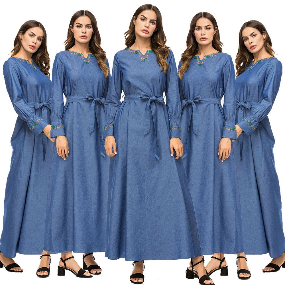 Women muslim maxi dress denim casual embroidery belt gown dubai robe