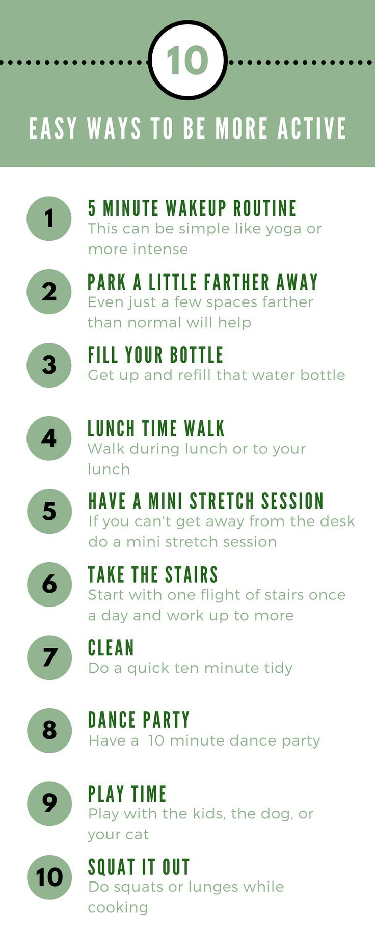 10 Easy Ways To Be More Active Health and fitness tips
