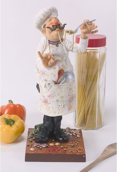 The Cook Kitchen Chef Sculpture Figurine By Artist Guillermo Forchino.  Discover The Entire Comical