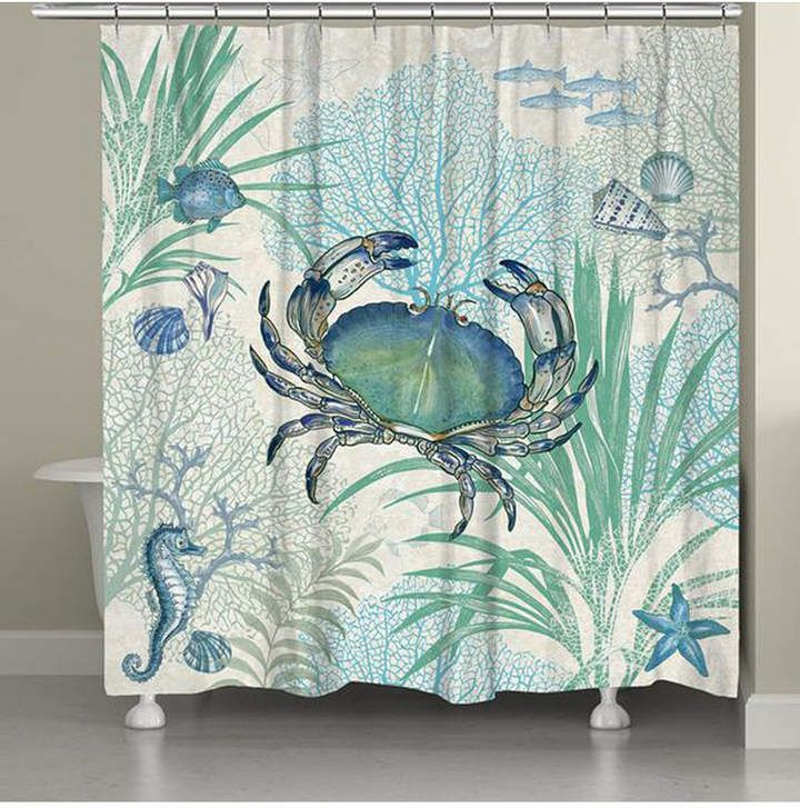 Laural Home Blue Crab Shower Curtain Reviews Shower Curtains