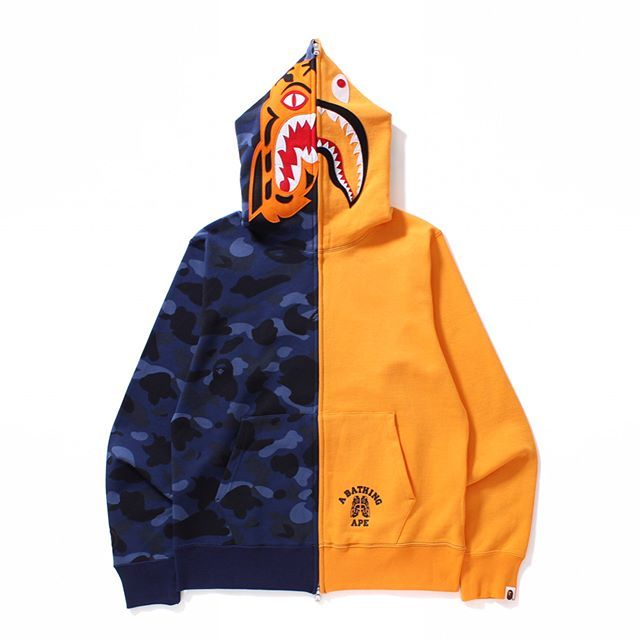 Japan Bape Casual Tiger Shark Zipper A Bathing Ape Sweater Sports Jacket Coat