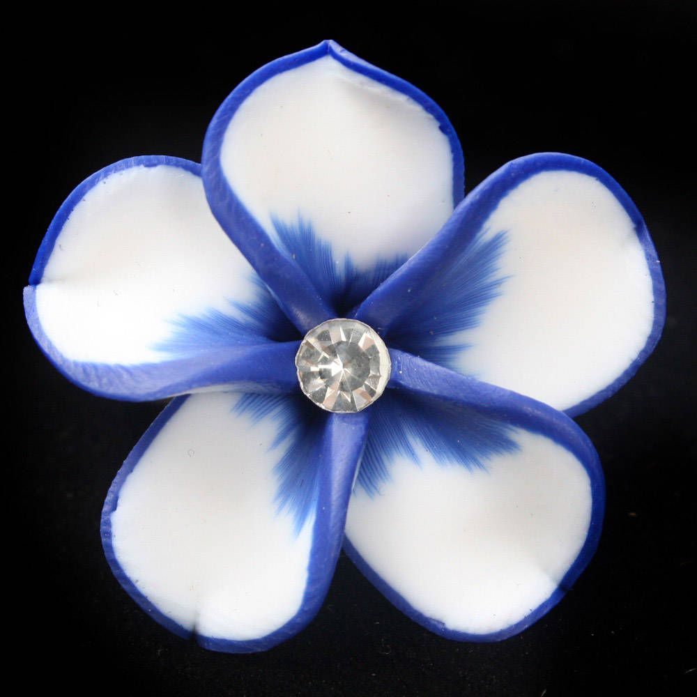 Blue hawaiian flowers blue white petal hawaiian flower rhinestone blue hawaiian flowers blue white petal hawaiian flower rhinestone clay ring izmirmasajfo Images