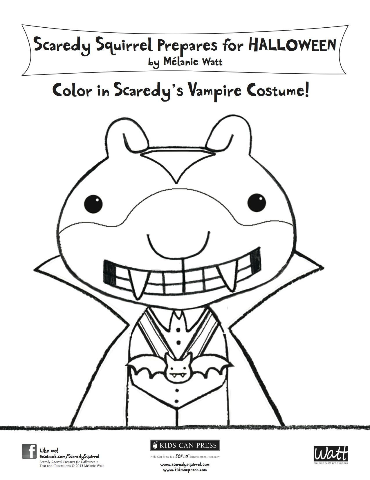 Color In Scaredy S Vampire Costume Scaredy Squirrel Prepares For