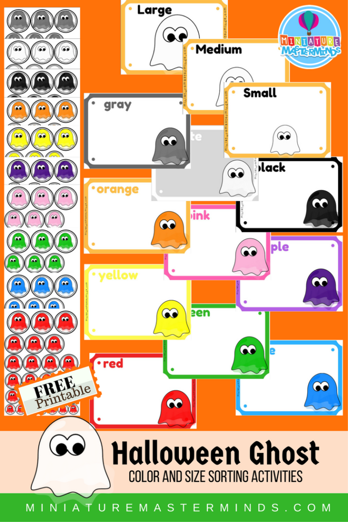 Free Halloween Themed Printable Preschool Color and Size