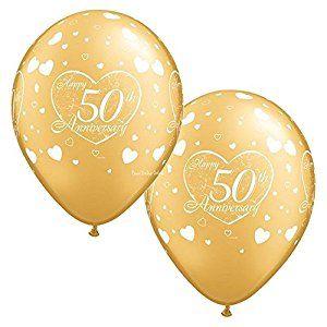 "11/"" LATEX GOLD 50 BIRTHDAY WEDDING ANNIVERSARY AIR HELIUM BALLOONS DECORATIONS"