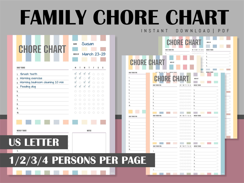 Family Chore Chart Printable Routine Tracker To Do List Task Etsy Family Chore Charts Printable Chore Chart Chore Chart