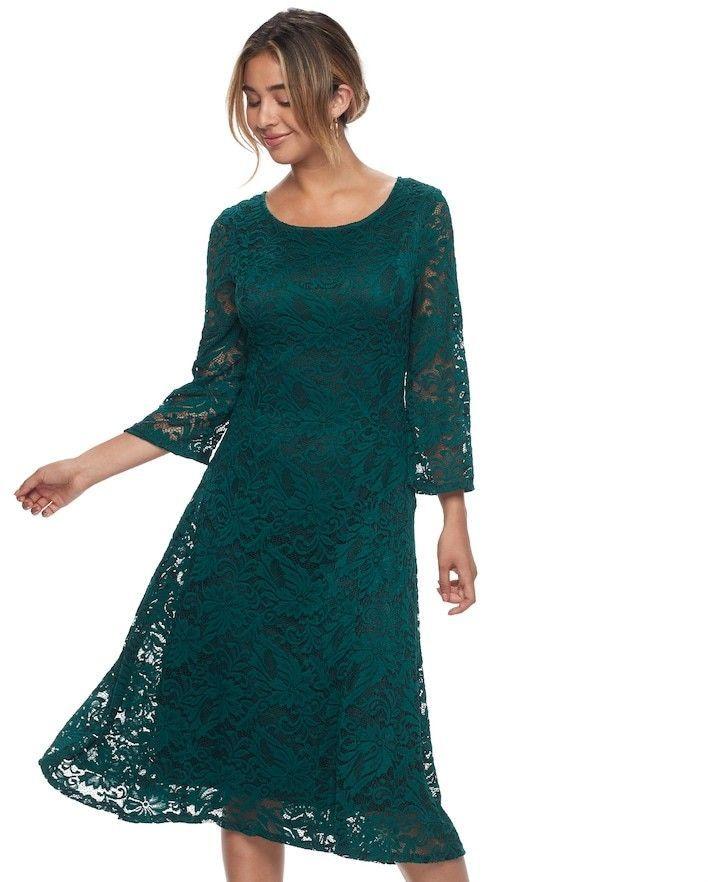 Ronni Nicole Lace A Line Midi Dress Emerald Green Knee Length