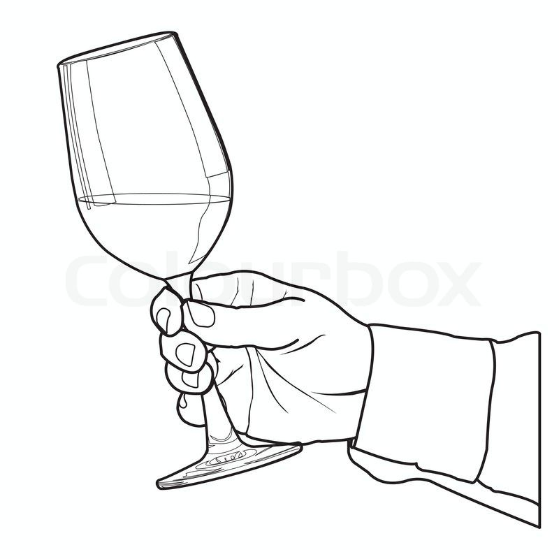 Stock Vector Of Hand Holding Glass Of Wine Isolated On White