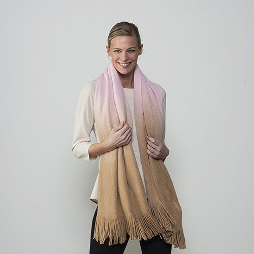 Scarf - Taupe & Pink Ombre