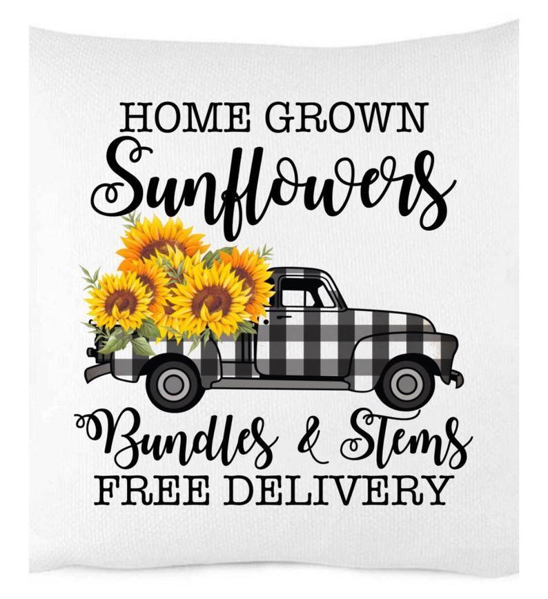Home Grown Sunflowers Pillow Cover Buffalo Check Buffalo