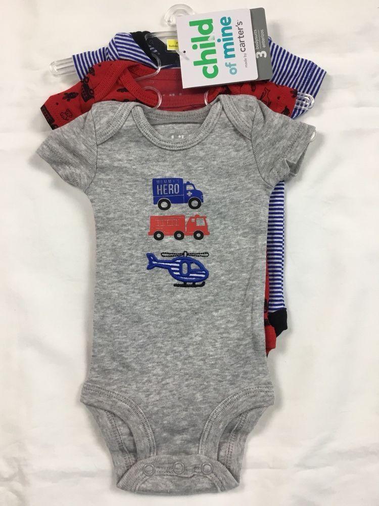 8de48ab4f NEW Child of Mine Carters Baby Boy 3 Pk BodySuits Size PREEMIE  #ChildofMinebyCarters #Everyday #preemies #ebay #bodysuit