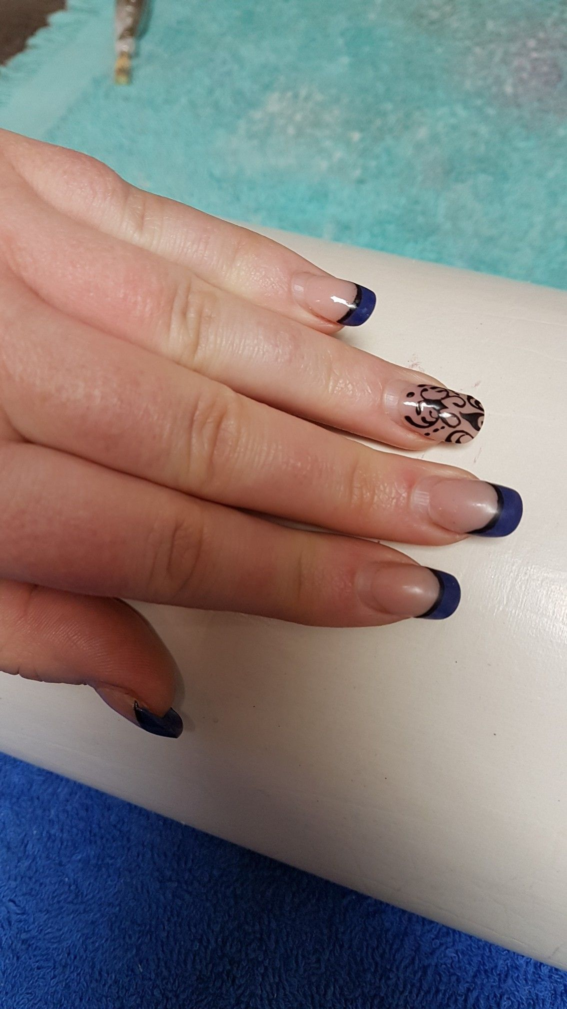 My Acrylic Nails After 4 Weeks Blue French And Black Detail Acrylic Nails Nails Class Ring